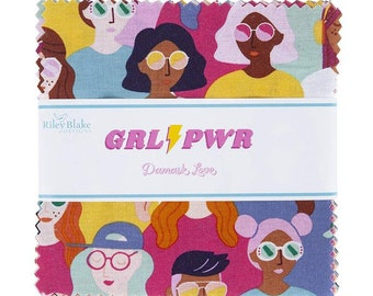 5 inch charm fabric squares GRL POWER by Riley Blake from Amber Kemp-Gerstel 5-10650-42