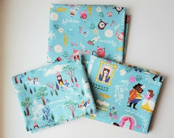 3 Fat Quarters BLUE main BEAUTY and the BeAST fabric Riley Blake Designs by Jill Howarth