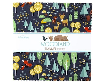 WOODLAND Flannel 10 inch squares Layer Cake Riley Blake Designs 10-1063-42 by Ben Byrd