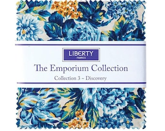 5 Inch charm pack The Emporium Collection 3 Discovery fabric by Liberty of London for Riley Blake Designs blue floral