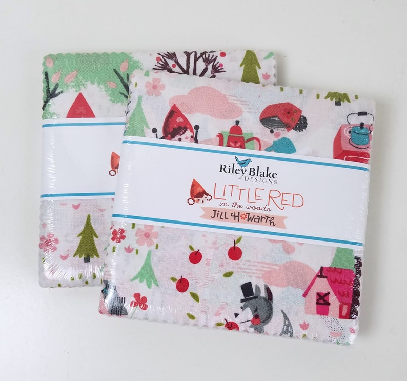SALE 2 Packs 5 inch squares LITTLE RED Riding Hood in image 0