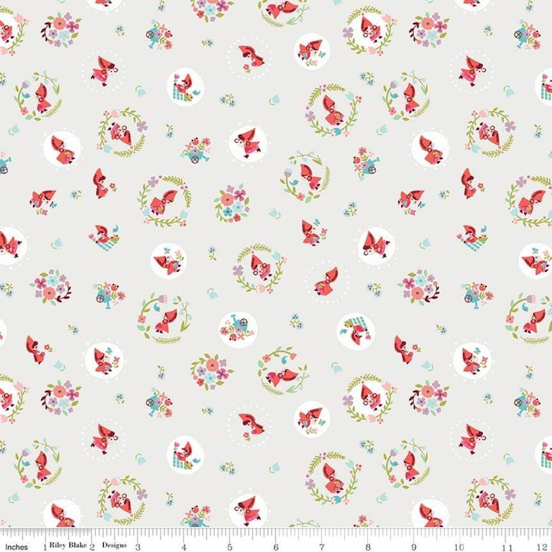 Little Red in the Woods Cream Toss fabric Riley Blake Designs image 0