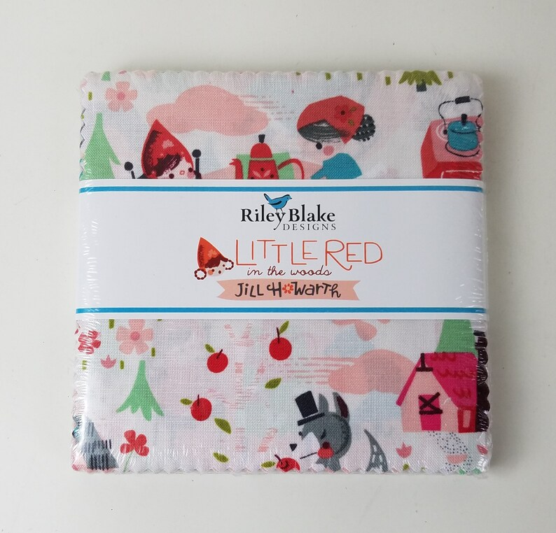 SALE 5 inch squares LITTLE RED Riding Hood in the Woods image 0