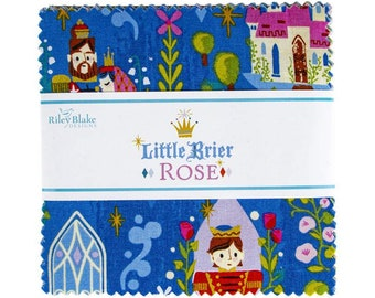 """Pre-Order 5"""" inch squares Little Brier Rose charm pack fabric by Riley Blake by Jill Howarth 5-11070-42 Sleeping Beauty"""