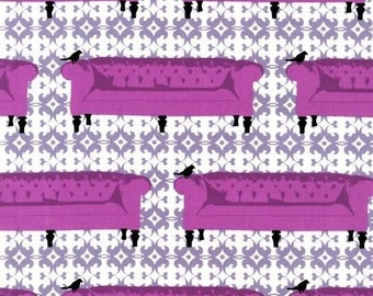 """SALE 1 yard 7"""" Tufted Tweets Laurie Wisburn - Purple Sofa Couch fabric"""