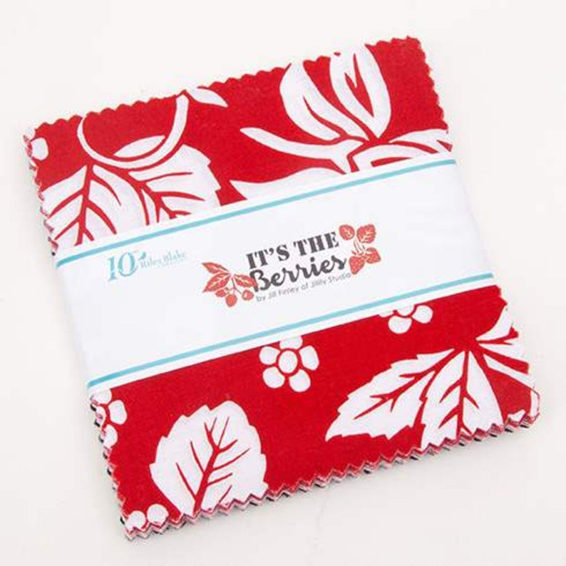 SALE  2 Packs 5 inch fabric charm squares IT'S THE BeRRIES image 0