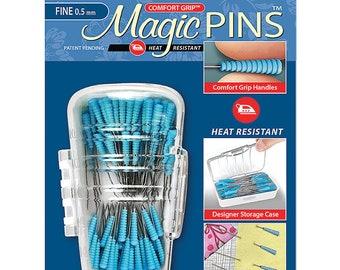 "Magic Pins Fine QUILTING 1 3/4"" - 50 count 0.5 mm Fine comfort grip Taylor Seville Heat Resistant"