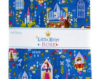 """Pre-Order 10"""" inch squares Little Brier Rose layer cake Stacker fabric by Jill Howarth Riley Blake Designs 10-11070-42 sleeping beauty"""