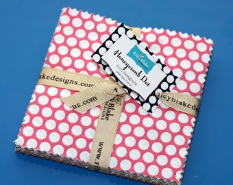 SALE 26 - 5 inch charm fabric squares Honeycomb Dot by Riley Blake