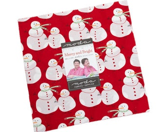 10 inch squares Layer Cake - MERRY and BRIGHT Moda Fabric by Me & My Sister Designs 22400LC