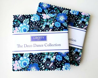 2 Packs 5 Inch charm pack The Deco Dance Collection fabric by Liberty of London for Riley Blake Designs blue floral 5-0477592-42
