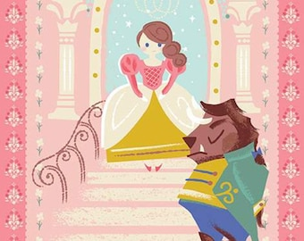 BEAUTY and the BEAST Panel fabric pink Main Riley Blake Designs by Jill Howarth P9536-PiNK