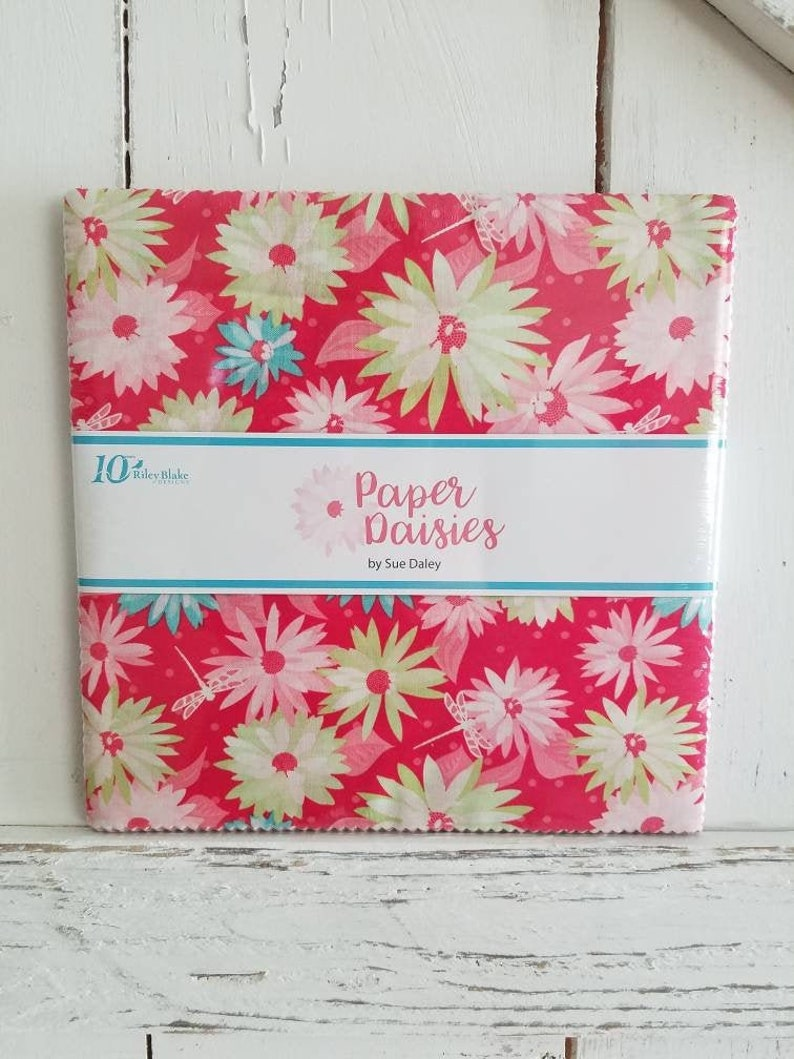 SALE PAPER DAISIES 10 inch squares Layer Cake by Sue Daley image 0