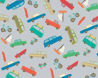 """25"""" FLANNEL Scenic Route gray cars fabric from Riley Blake"""
