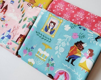 4 Fat Quarters main BEAUTY and the BeAST fabric Riley Blake Designs by Jill Howarth blue pink gold
