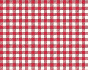 1 yard FLANNEL RED Buffalo Check Plaid white fabric from Riley Blake F455-RED