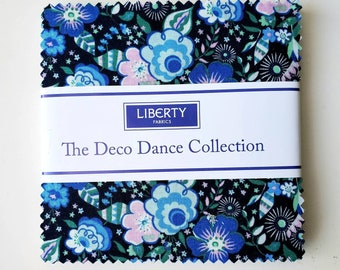 5 Inch charm pack The Deco Dance Collection fabric by Liberty of London for Riley Blake Designs blue floral 5-0477592-42