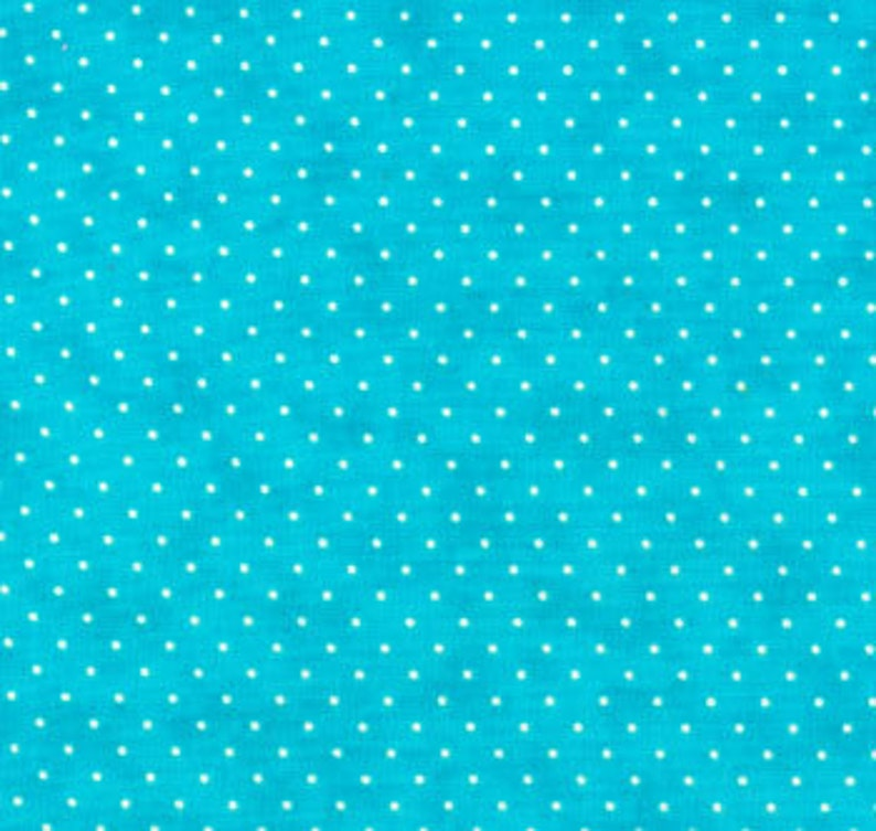 SALE 1 yard Turquoise Aqua Blue Essential Dots Moda Fabric image 0