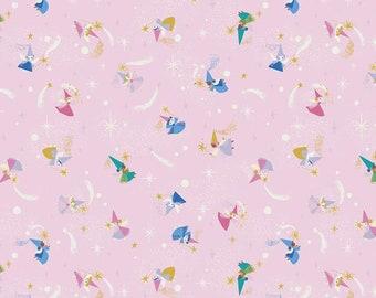 Pre-Order Little Brier Rose FAIRIES fairy fabric Riley Blake Designs Jill Howarth fat quarter half yard SC11073-PINK sparkle sleeping beauty