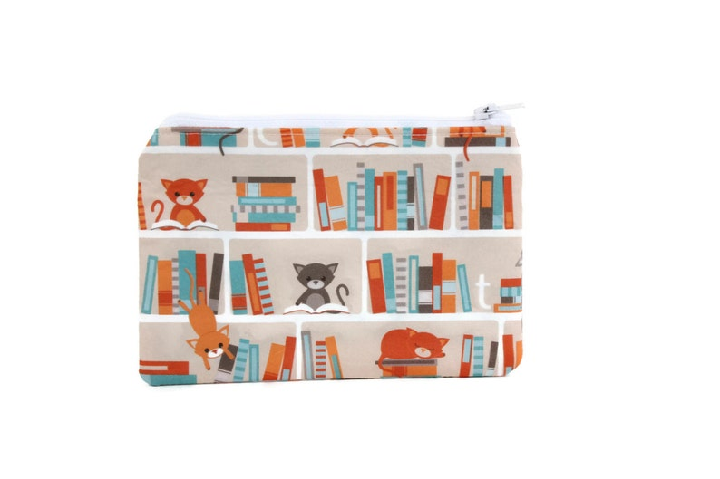 CHOOSE SIZE Cat Library Bag  Cat Lover Gift  Mini Zipper Pouch  Book Lovers Makeup Bag in Kitty Library