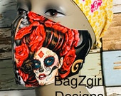 Tattoo Catrina-pinup girls- Face Mask Filter Face Mask, Cotton Face Mask, Washable Reusable 3 Layer face Mask, Dust Mask, Face Protection