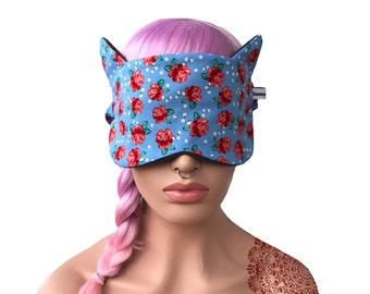 Sleep Mask with Cat Ears Purple Roses