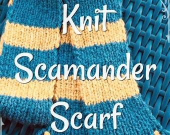 Newt Scamander Knit Hufflepuff Scarf PATTERN PDF Downloadable Fantastic Beasts Harry Potter