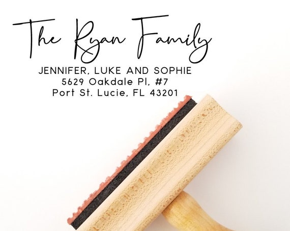 Return Address Rubber Stamp - Single, Couple, Family or Business Personalization - Self Ink and Wood Handle with Ink Pad (AS544)