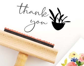 Thank You Stamp with Potted Plant For Small Business - Wood Handle Mount - Black Ink Pad (TYS639)