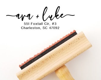 Calligraphy Address Stamp | Self Ink or Wood Handle with Inking Pad