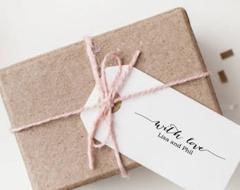 With Love Stamp - 12 Favor Stamp - Custom Gift Tag Stamp - DIY Wedding Stamp - Calligraphy Font With Swashes - Rustic Wedding Stamp