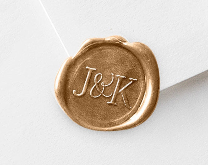 Featured listing image: Monogram Wax Seal Stamp - Initials Wax Stamper Set - With Sticks - Couples Gift