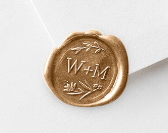 Wax Stamp Initials with Sealing Sticks - For Wedding Invitation Stationery - Newlywed Couple Gift (592)