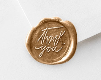 Sealing Wax Stamp | Brass Head Wooden Handle | Thank You Stamper Kit with Wax Stick Pack (W177)