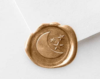 Wax Stamper - Crescent Moon and Stars - For Favor Bags, Tags, Envelopes