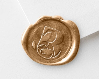 Wax Seal Initial Stamp - Flower, Leaves - For Couples Gift Basket - Includes 3 Wax Sticks