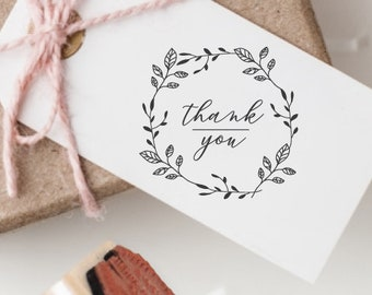 Thank You Wreath Rubber Stamp | Self Inking or Wood Handle Mount