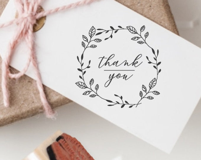 Featured listing image: Thank You Wreath Rubber Stamp | Self Inking or Wood Handle Mount