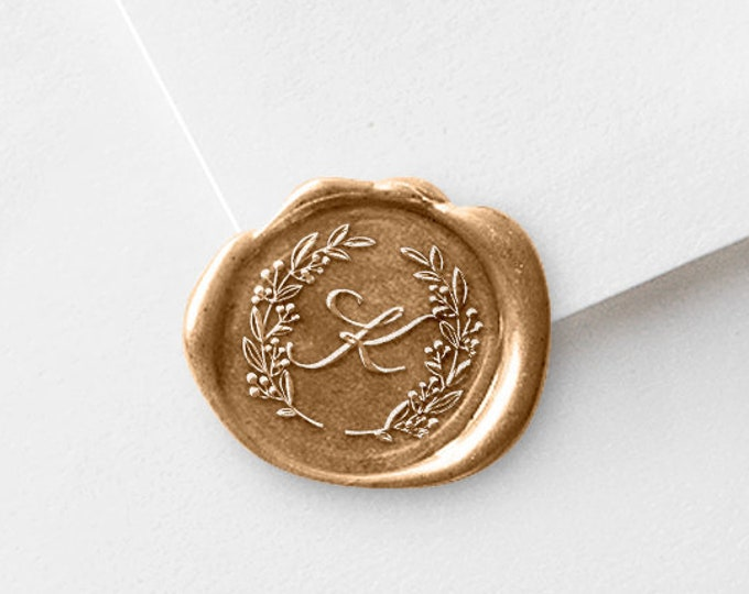 Featured listing image: Monogram Wax Seal Stamp | Save The Date Wax Stamp | Sealing Wax | Custom Wedding Wax Stamper |  Laurel Wreath and Initial | Wax Sticks (231)