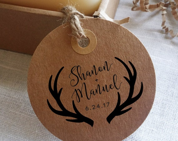 Antlers Wedding Favor Stamp - DIY Wedding Stamp - Rustic Favor Stamp - Wood Mount - Calligraphy Stamp - Shanon and Manuel