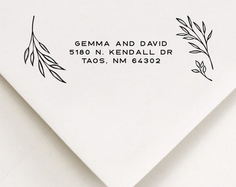Leaves Address Stamp - Self Inking or Wooden Handle Mount Options with Black Ink - For Birthday, Sister In Law Gift (328)