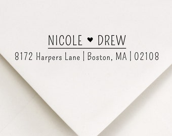 Address stamp with heart between names in printed tall font - Nicole and Drew Design