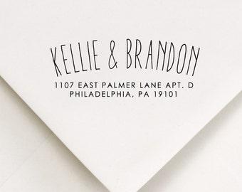 Return Address Stamp - Arc Style - Custom Stamp - Kellie and Brandon Design