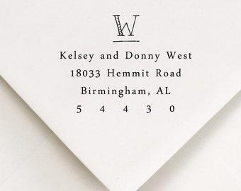 Monogram Return Address Stamp - WOOD HANDLE - hand printed style - Wedding gift - Kelsey and Dustin Design