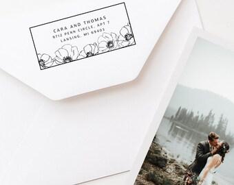 Custom Address Stamp, Return Address Stamp, Rubber Stamp, Save The Date Stamp, Flower Design (152)