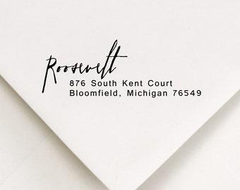 Address Stamp, Return Address Stamp, Personalized Address, Return Address, Gift, Self Inking Stamp, Rubber Stamp, Roosevelt Design (904)