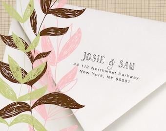 Custom Return Address Stamp  - Hand printed font -  Stamp Wedding invitations, Thank you notes - Josie and Sam Design