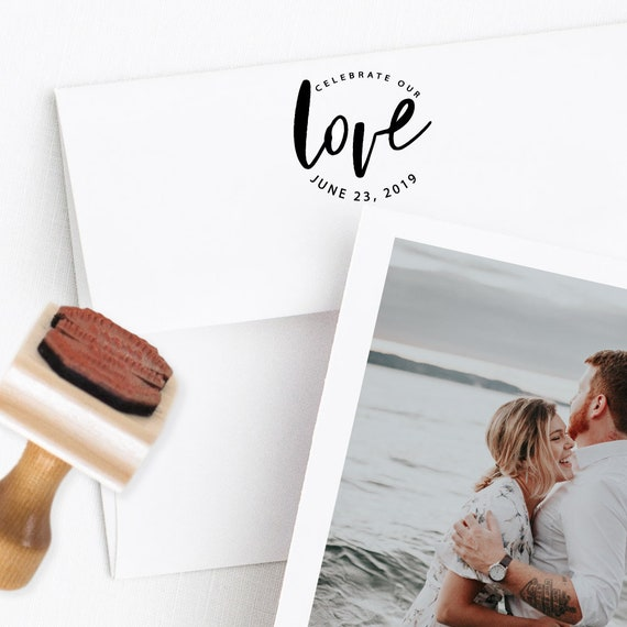 Love Rubber Stamp - Celebrate Our Love - Personalized Save The Date Stamper - Wood Handle with or without Black Ink Pad