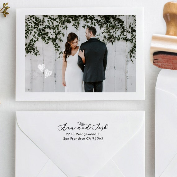Calligraphy Hand Stamp with Laurel Leaf - Return Address Inker or Wood Handle, Black Ink Pad Optional - Gift For Wedding Couple (420)