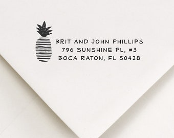 Personalized Pineapple Stamp - For Stamping Names and Address on Envelopes, Packages - First New Home Housewarming Gift For Couple (135)